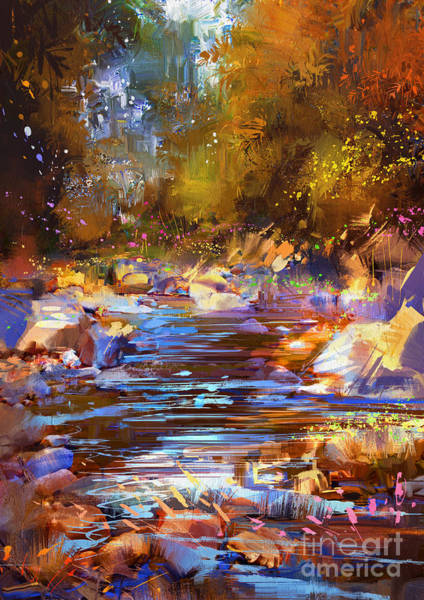 Art Print featuring the painting Colorful River by Tithi Luadthong