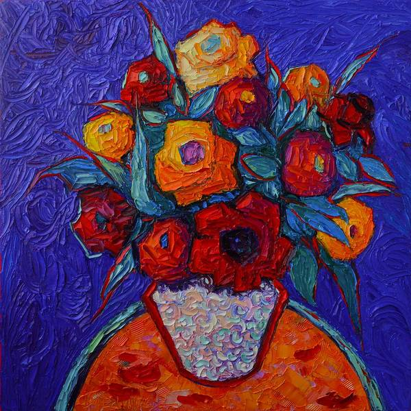 Painting - Colorful Roses On Royal Purple Modern Impressionist Impasto Knife Oil Painting By Ana Maria Edulescu by Ana Maria Edulescu