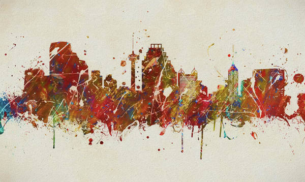 Courthouse Painting - Colorful San Antonio Skyline by Dan Sproul