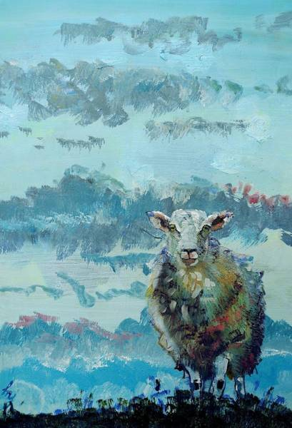 Painting - Colorful Sheep Art - Out Of The Stormy Sky by Mike Jory