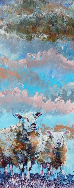 Painting - Colorful Sheep Pink Cloudy Sky by Mike Jory