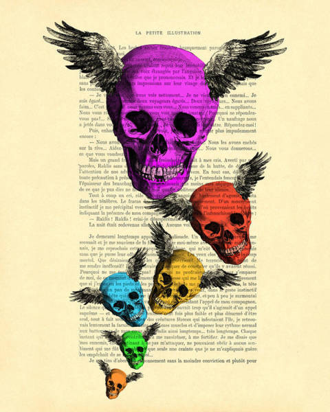 Wall Art - Digital Art - Colorful Rainbow Skull With Wings Illustration On Book Page by Madame Memento