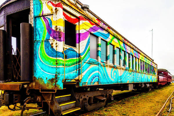 Wall Art - Photograph - Colorful Skunk Train Passenger Car by Garry Gay