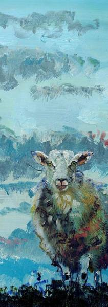 Painting - Colorful Sky And Sheep - Narrow Painting by Mike Jory