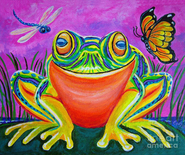 Dragon Fly Painting - Colorful Smiling Frog-voodoo Frog by Nick Gustafson