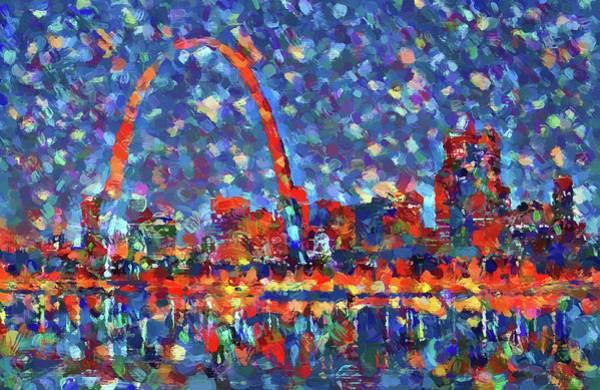 St Louis Arch Painting - Colorful St Louis Skyline by Dan Sproul