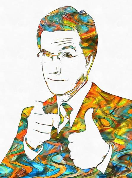 Wall Art - Painting - Colorful Stephen Colbert by Dan Sproul
