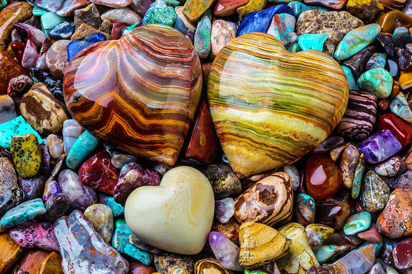Hard Rock Photograph - Colorful Stone Hearts by Garry Gay