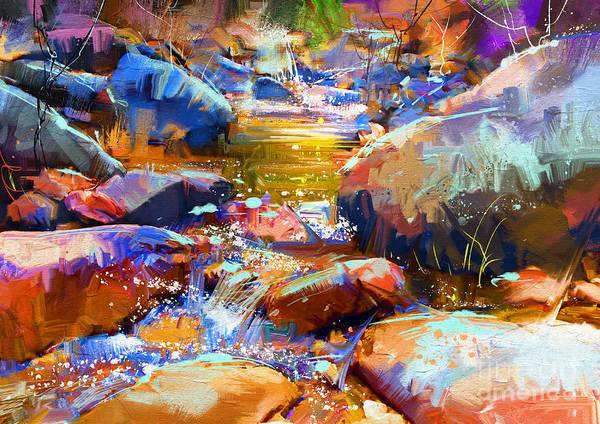 Art Print featuring the painting Colorful Stones by Tithi Luadthong