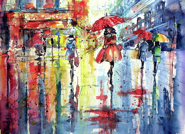 Shopping Painting - Colorful Street by Kovacs Anna Brigitta
