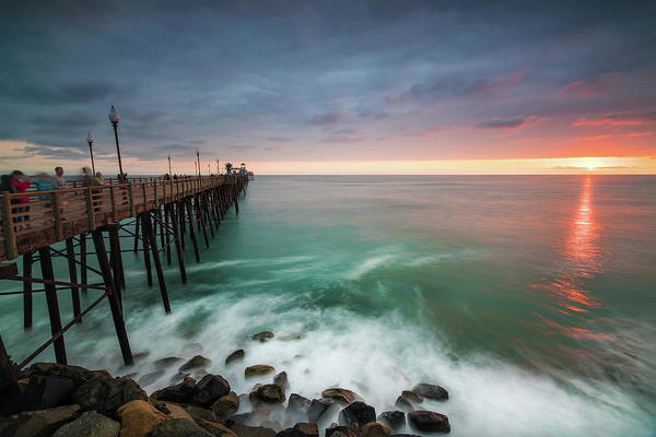 Pacific Wall Art - Photograph - Colorful Sunset At The Oceanside Pier by Larry Marshall