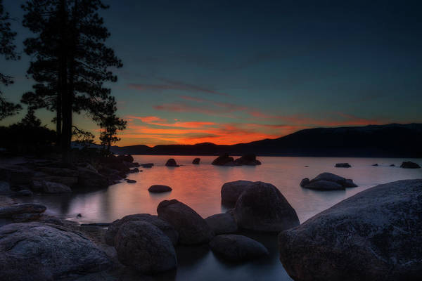 Photograph - Colorful Sunset Behind Mountains At Lake Tahoe by Dan Friend