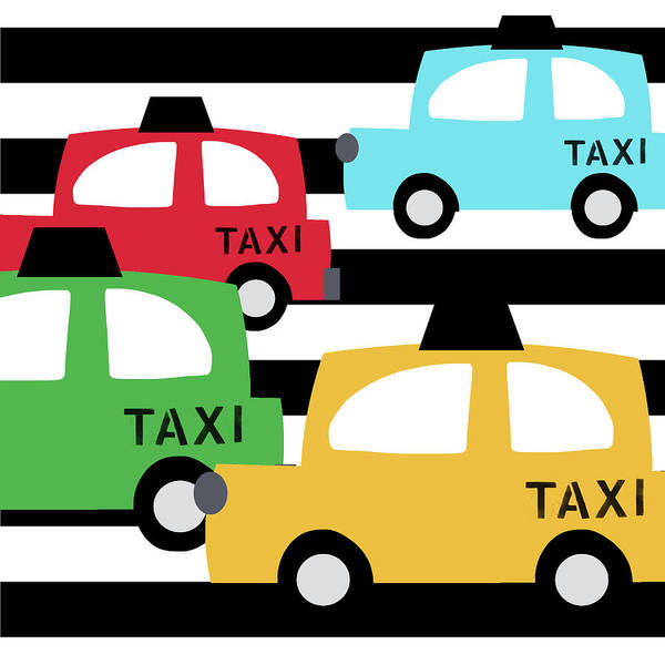Driving Wall Art - Digital Art -  Colorful Taxis- Art By Linda Woods by Linda Woods