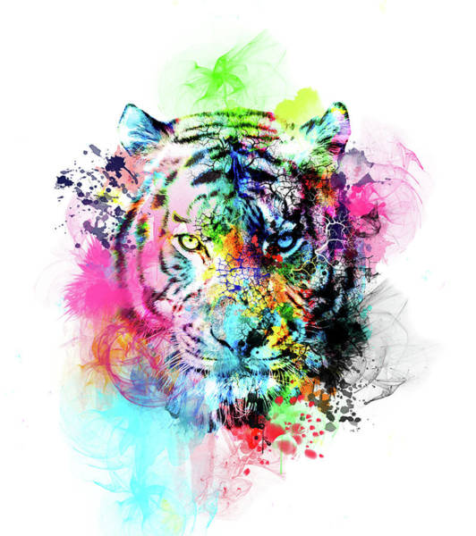 Big Cat Digital Art - Colorful Tiger by Bekim Art