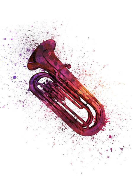 Wall Art - Painting - Colorful Tuba 04 by Aged Pixel