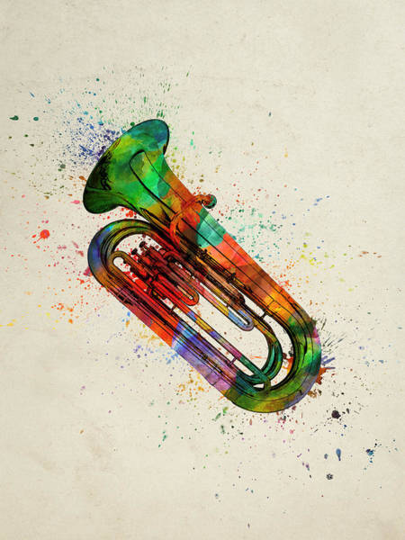 Wall Art - Painting - Colorful Tuba 05 by Aged Pixel