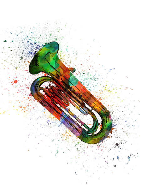 Wall Art - Painting - Colorful Tuba 06 by Aged Pixel