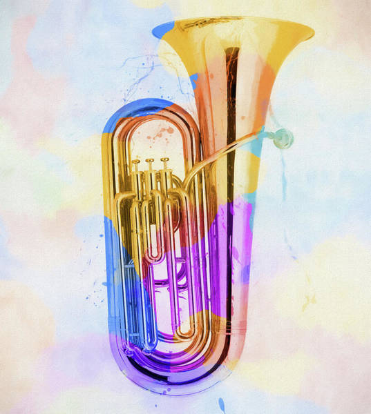 Marching Band Painting - Colorful Tuba by Dan Sproul