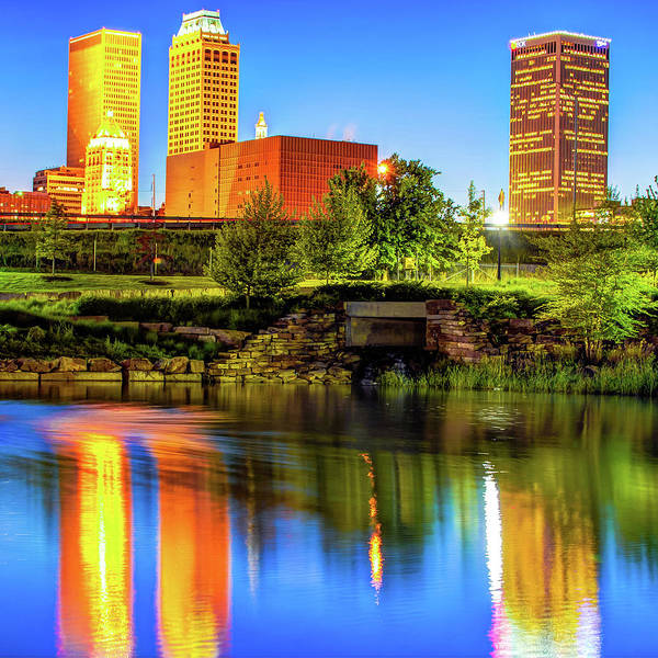 Best Photograph - Colorful Tulsa Skyline - Square Oklahoma Fine Art by Gregory Ballos