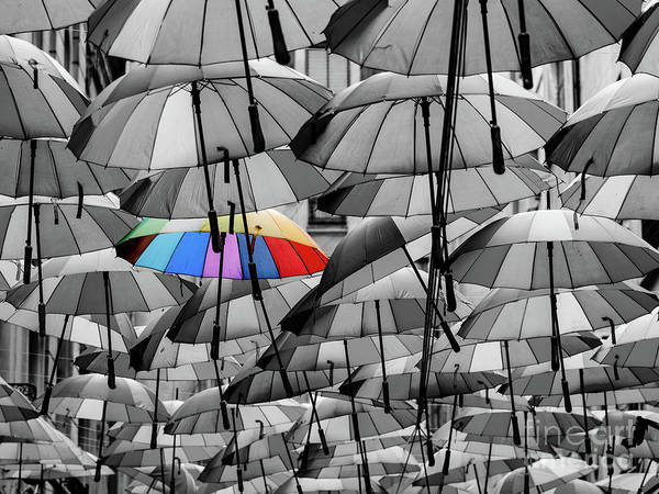 Lgbt Photograph - Colorful Umbrella Among Others Different From The Crowd Concept by Radu Bercan