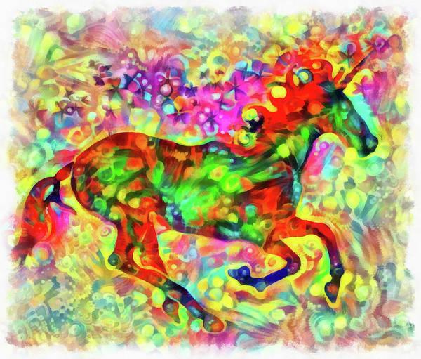 Painting - Colorful Unicorn by Matthias Hauser