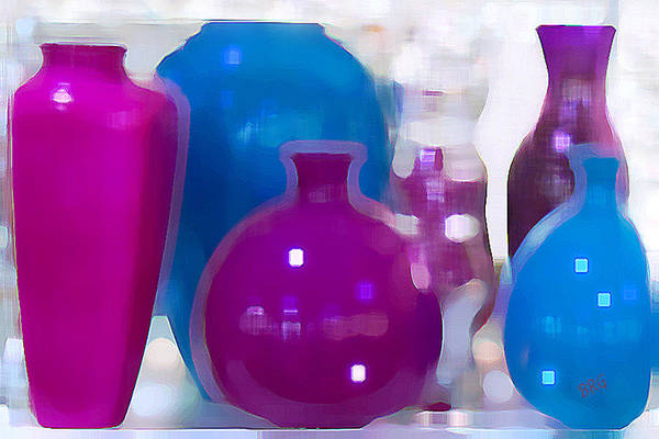 Pink And White Digital Art - Colorful Vases II - Still Life by Ben and Raisa Gertsberg