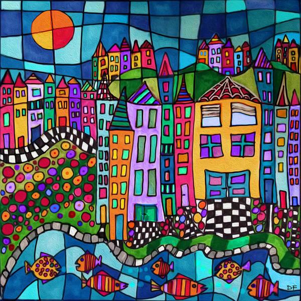 Stream Mixed Media - Colorful Village by Dora Ficher