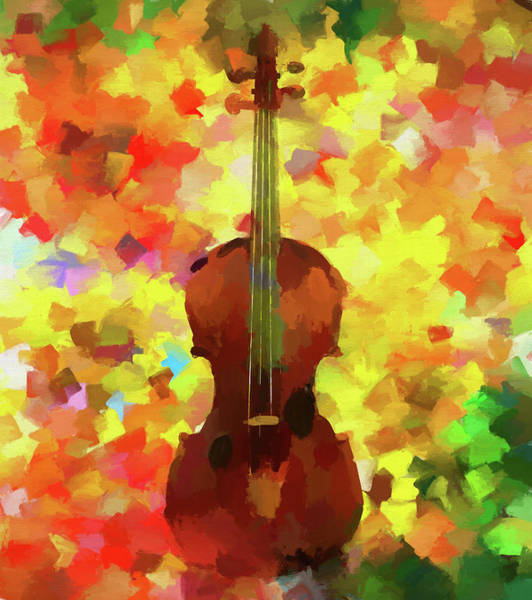 Wall Art - Painting - Colorful Violin by Dan Sproul