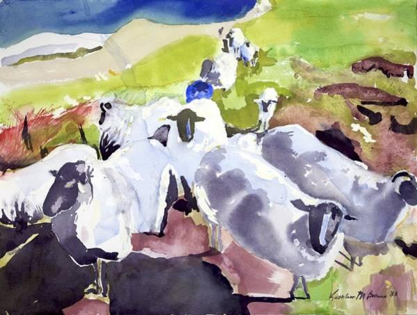 Colorful Waiting Sheep Art Print