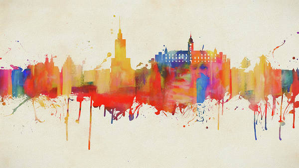 D.w Painting - Colorful Warsaw Skyline by Dan Sproul