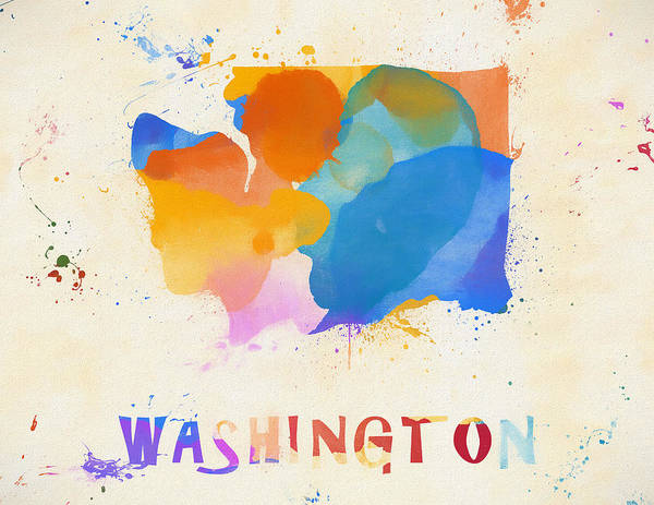 Tacoma Painting - Colorful Washington State Map by Dan Sproul