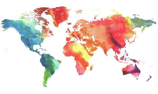 Painting - Colorful Watercolor Map Of The World by Irina Sztukowski