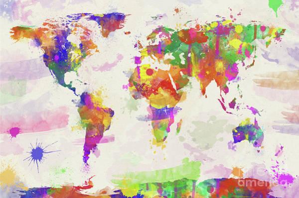 New Trend Digital Art - Colorful Watercolor World Map by Zaira Dzhaubaeva