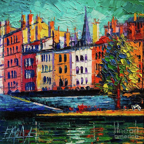 Wall Art - Painting - Colorful Waterfront In Lyon France Modern Impressionist Palette Knife Oil Painting Cityscape by Mona Edulesco