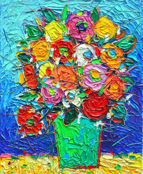 Wall Art - Painting - Colorful Wildflowers Abstract Modern Impressionist Palette Knife Oil Painting By Ana Maria Edulescu  by Ana Maria Edulescu