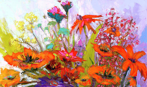 Painting - Colorful Wildflowers Bunch, Oil Painting, Palette Knife by Patricia Awapara