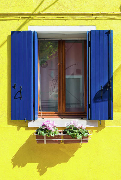Photograph - Colorful Yellow And Blue Window In Burano Venice Italy by Matthias Hauser