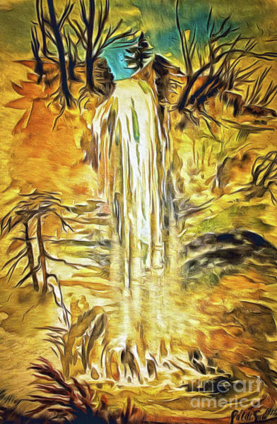 Painting - Colorfull Waterfall In The Forest by Odon Czintos