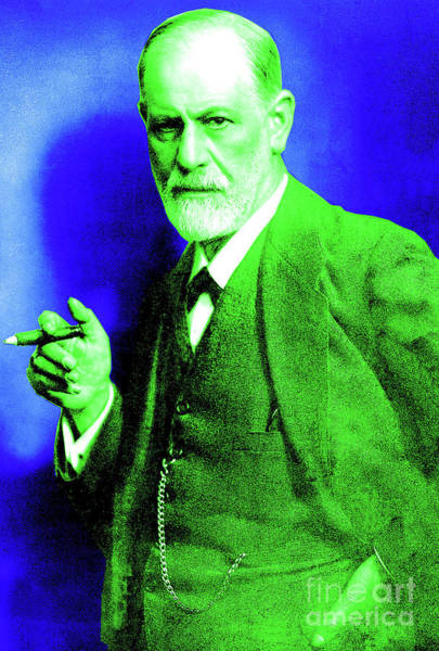 Colorization Photograph - Colorized Photo Of Sigmund Freud  Green And Blue by French School