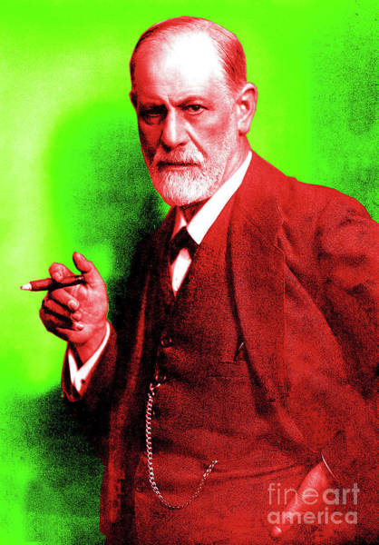 Colorization Photograph - Colorized Photo Of Sigmund Freud  Green And Brown by English School