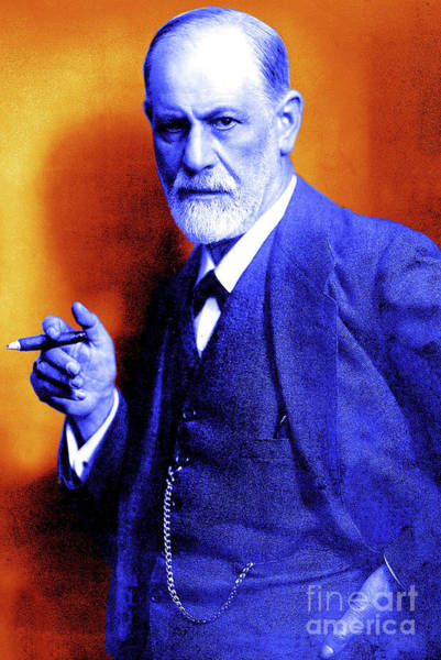 Colorization Photograph - Colorized Photo Of Sigmund Freud  Orange And Purple by English School