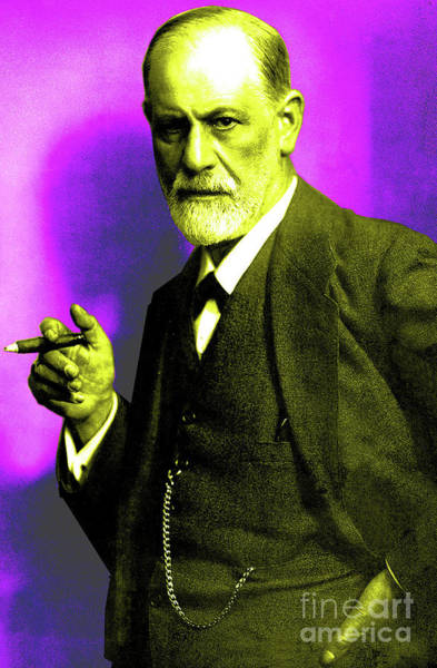 Colorization Photograph - Colorized Photo Of Sigmund Freud  Purple And Green by French School