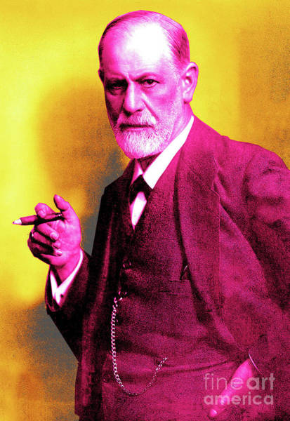 Colorization Photograph - Colorized Photo Of Sigmund Freud  Yellow And Pink by French School