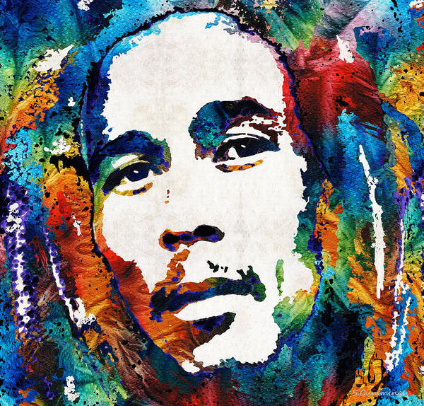 Tribute Painting - Colors Of Reggae - Bob Marley Tribute by Sharon Cummings