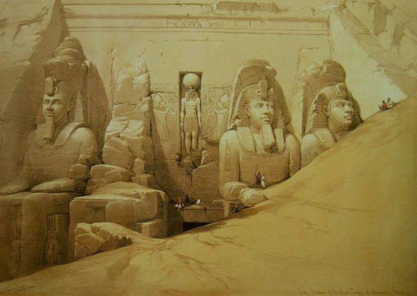 Painting - Colossal Figures In Front Of The Great Temple Of Aboo-simbel by David Roberts