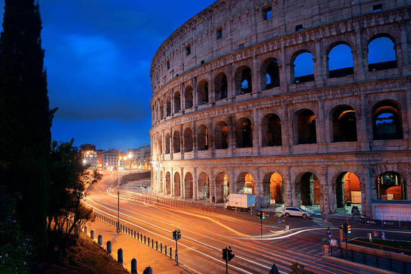 Photograph - Colosseum In Rome At Night by Songquan Deng