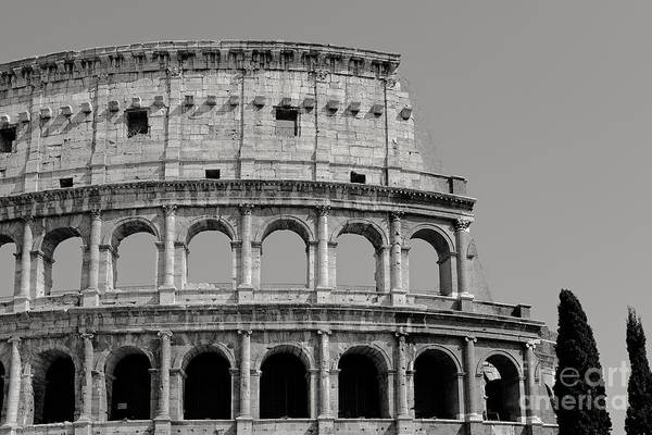 Rome Photograph - Colosseum Or Coliseum Black And White by Edward Fielding