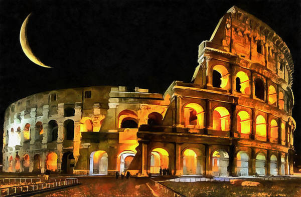 Colosseum Under The Moon Art Print