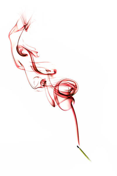 Photograph - Coloured Smoke - Red by Nick Bywater