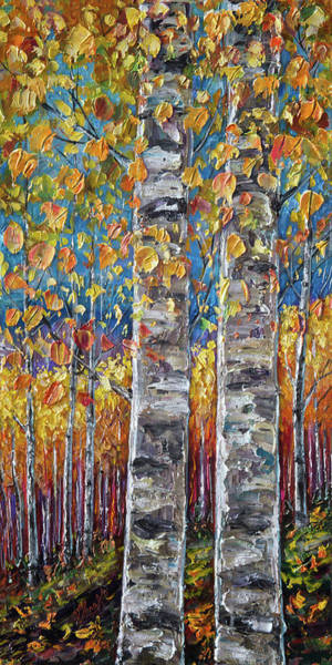 Digital Art - Colourful Autumn Aspen Trees By Lena Owens @olena Art by OLena Art - Lena Owens